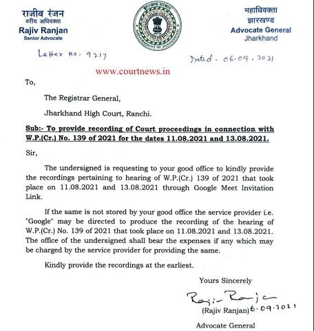 AG latter to Registrar General